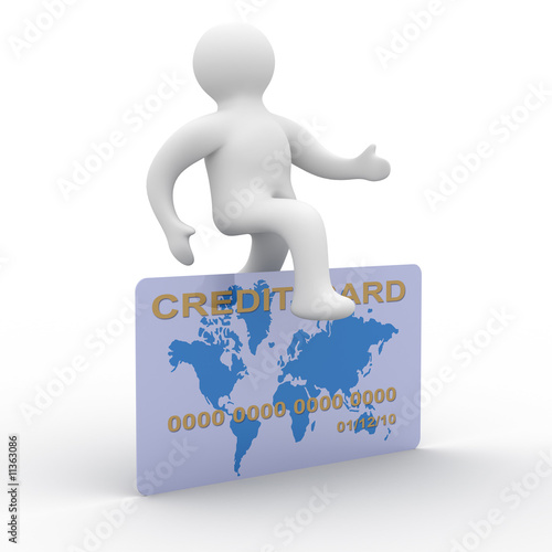 man jumping a credit card. 3D image