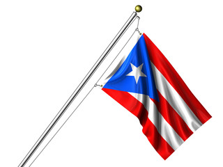 Isolated Puerto Rican Flag