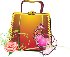 Womanish bag in a gift to the day of Valentine. Vector