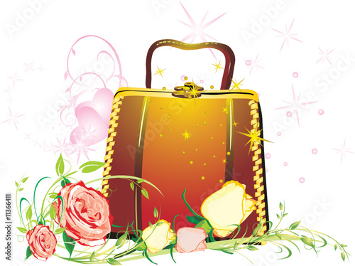 Womanish bag with bouquet of roses. Vector