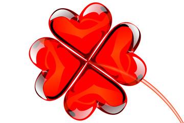 Valentine lucky love crystal clover hearts.