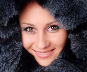 woman and black fur