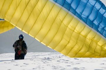 Paragliding on snow