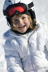 Cute girl on ski portrait