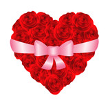 Heart of red roses bonded with ribbon. Vector-Illustration poster