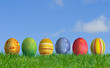 Easter Eggs and grass field