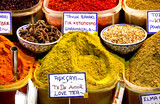 Close view on spice bazaar poster