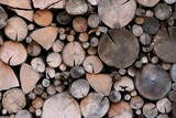 Stack of pile of firewood, wooden background poster