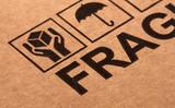 fine image close up of fragile symbol on cardboard poster