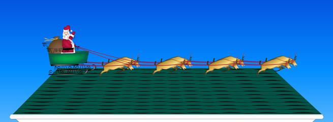 illustration of Santa and reindeer on rooftop