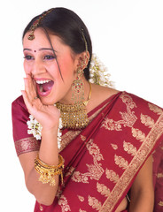 indian girl with shouting expression