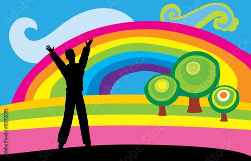 阳光云朵彩虹卡通