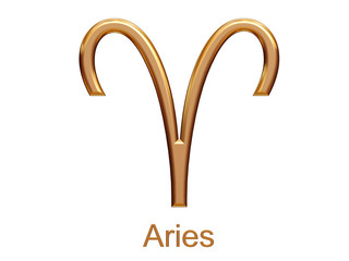 aries - golden astrological zodiac symbol isolated on white