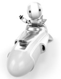 Robot in Hover Rocket Waving poster