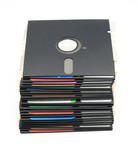 Old 5 1/4 floppy disk stack front view