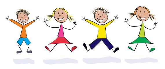 quatre enfants saut de joie