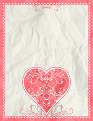 greetings card with pink heart