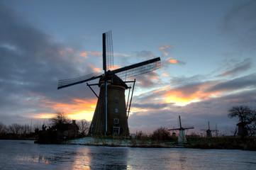 Dutch windmill in the evening sun