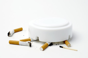 Cigarette butt on white - No smoking