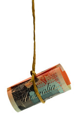 Dangling Australian dollar held by a rope isolated on white