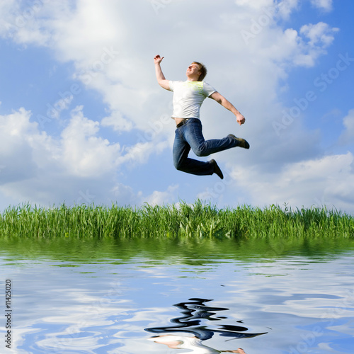 happy man is jumping