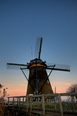 Dutch windmill in the sunset