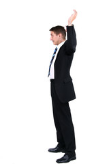 businessman holding up both hands in surrender