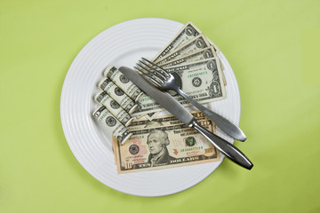 money on plate