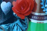 Saint Valentin - Carte Postale Rose et Chamapagne poster