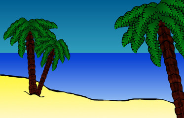 Paradise Island - Hawaian Beach Cartoon Background
