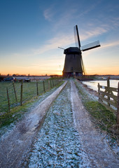 windmill winter landscape