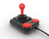 Retro joystick on white. Digitally generated image. poster
