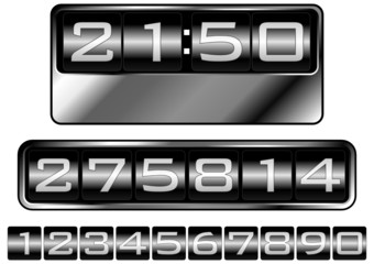 Numbers simulating dashboard counters clocks or tag prices