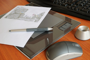 Graphic tablet with pen and mouse