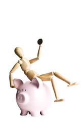 Manikin holding a coin, sitting on a piggy bank