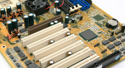 Computer mother board end view