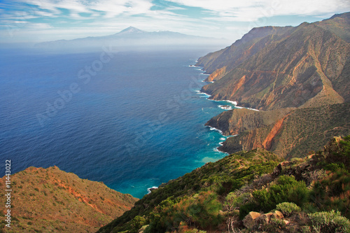 Island landscape. Tenerife seen from Gomera, Spain.