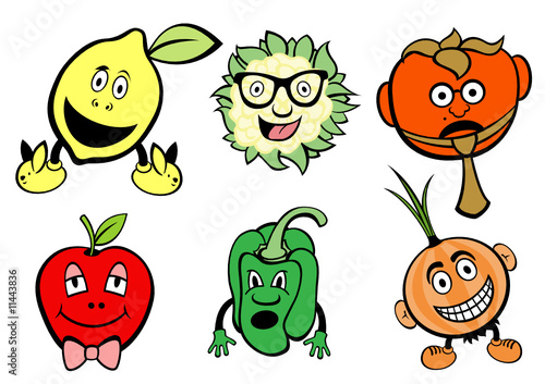cute fruits and vegetable icons set