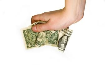 Hand crunching money