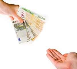 Handing over euro banknotes