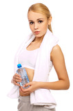 Portfait of Sporty beautiful girl holding bottle of water poster