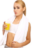 Portfait of Sporty beautiful girl holding glass of juice poster
