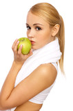 Portfait of Sporty beautiful girl holding apple poster