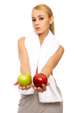 Portfait of Sporty beautiful girl holding two apples poster