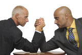 Businessmen arm wrestling isolated in white poster