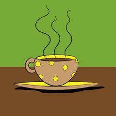 tazzina di caffè a pois