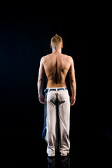 muscular male naked back