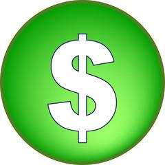 Dollar Button grün Aqua