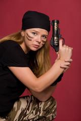 beautiful girl with pistol