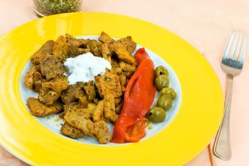 Gyros mit Tzatziki,Paprika Salat